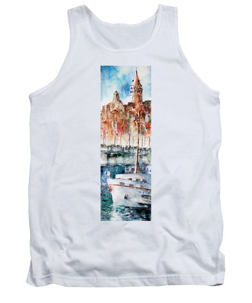 Tank Top featuring the painting The Ferry Arrives At Galata Port - Istanbul by Faruk Koksal