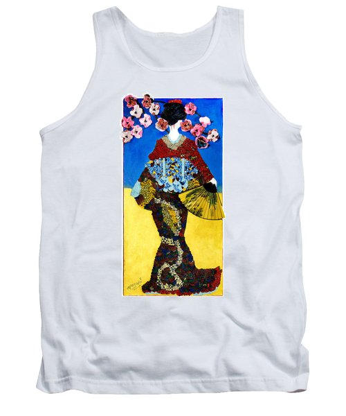 Tank Top featuring the tapestry - textile The Geisha by Apanaki Temitayo M