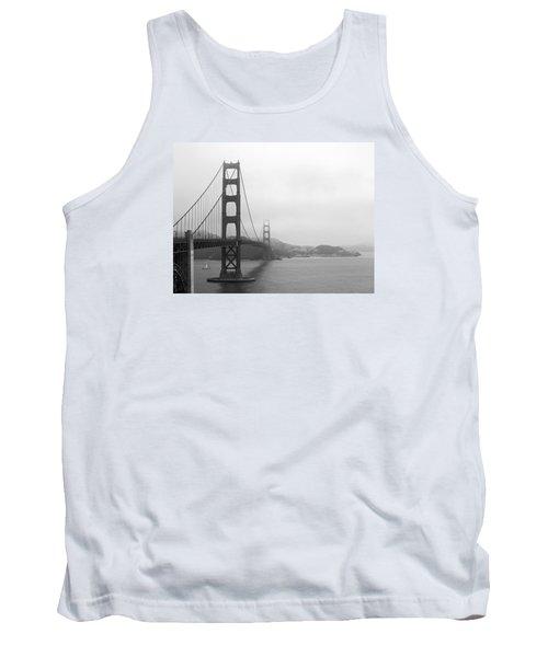 The Golden Gate Bridge In Classic B W Tank Top by Connie Fox
