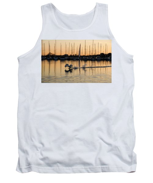 The Golden Takeoff - Swan Sunset And Yachts At A Marina In Toronto Canada Tank Top
