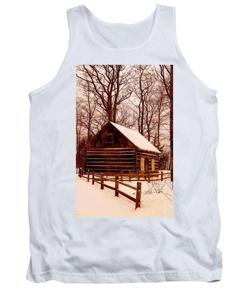 The Log Cabin At Old Mission Point Tank Top by Daniel Thompson