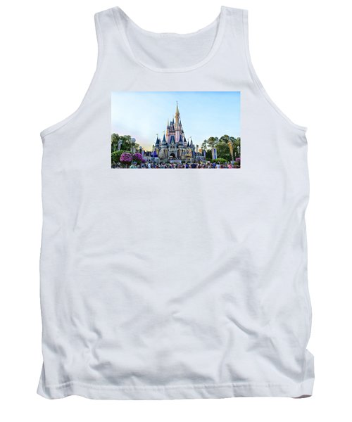 The Magic Kingdom Castle On A Beautiful Summer Day Horizontal Tank Top by Thomas Woolworth