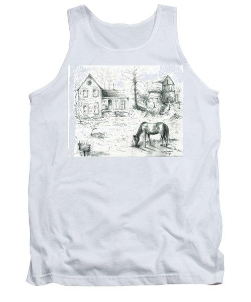 Tank Top featuring the painting The Old Horse Farm by Bernadette Krupa