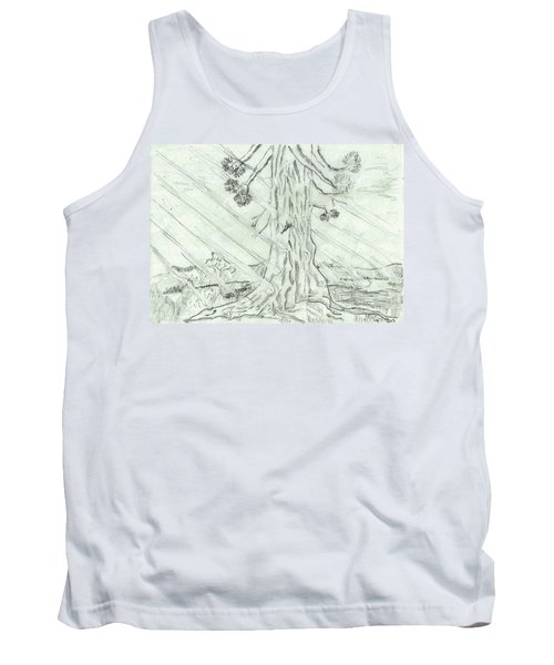 Tank Top featuring the drawing The Old Tree In Spring Light  - Sketch by Felicia Tica