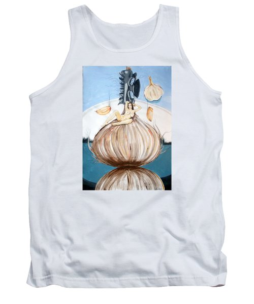 Tank Top featuring the painting The Onion Maiden And Her Hair La Doncella Cebolla Y Su Cabello by Lazaro Hurtado