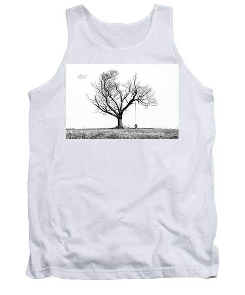 The Playmate - Old Tree And Tire Swing On An Open Field Tank Top by Gary Heller