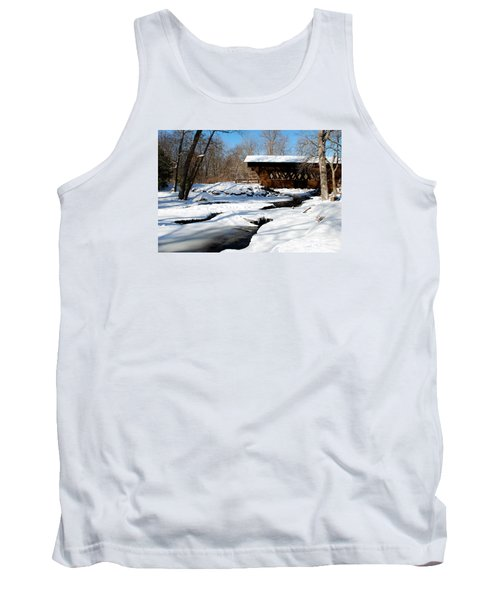 The River Flows Under The Springwater Covered Bridge Tank Top by Janice Adomeit