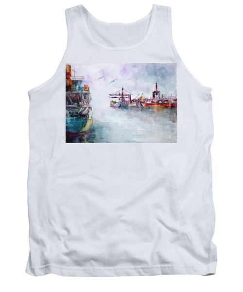 Tank Top featuring the painting The Ship At Harbor Entrance by Faruk Koksal