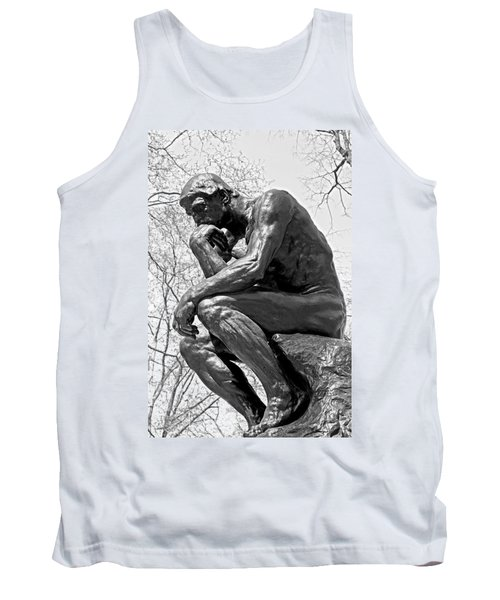 The Thinker In Black And White Tank Top