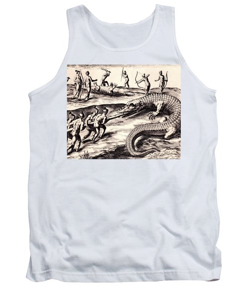 Tank Top featuring the drawing Their Manner Of Killynge Crocodrilles by Peter Gumaer Ogden