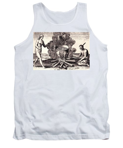 Tank Top featuring the drawing Their Seetheynge Of Their Meate In Earthen Pottes by Peter Gumaer Ogden