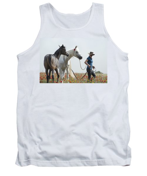 Tank Top featuring the photograph Three At The Poppies' Field... 1 by Dubi Roman