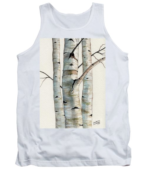 Tank Top featuring the painting Three Birch Trees by Christopher Shellhammer