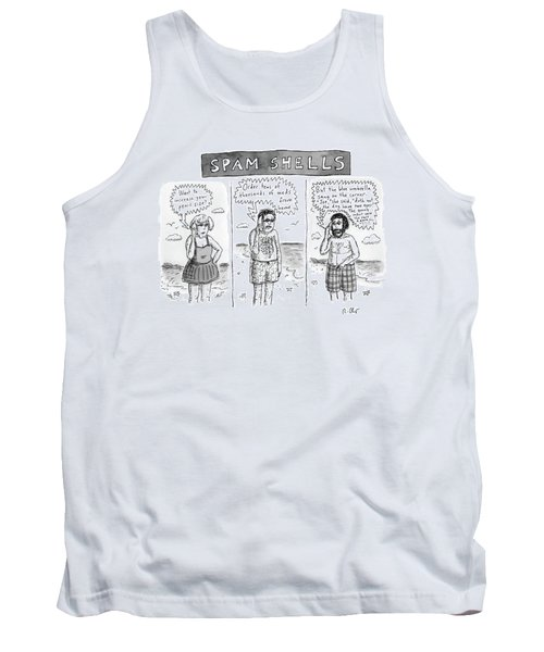 Three Panels Of People In Swimsuits On The Beach Tank Top