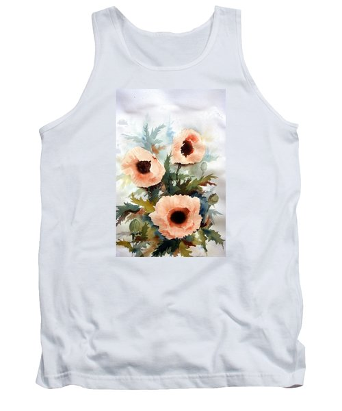 Tank Top featuring the painting Three Poppies by William Renzulli