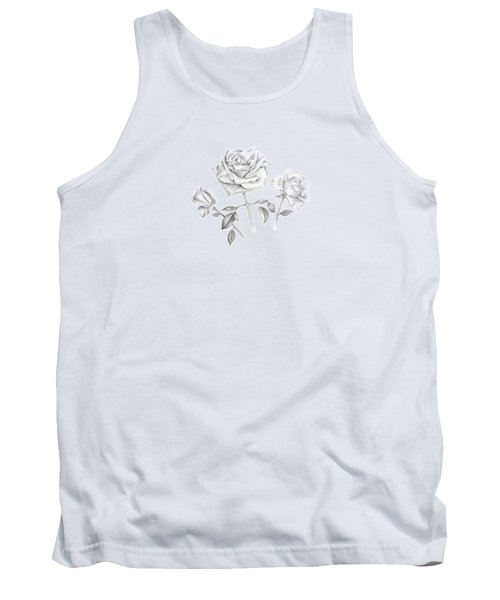Tank Top featuring the drawing Three Roses by Elizabeth Lock