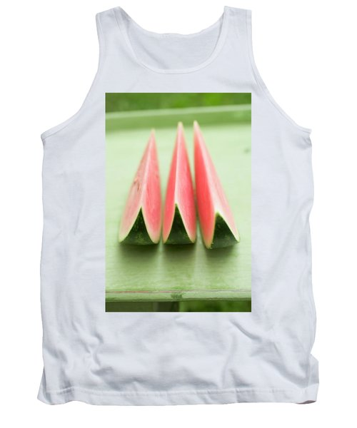 Three Wedges Of Watermelon On Green Table Tank Top