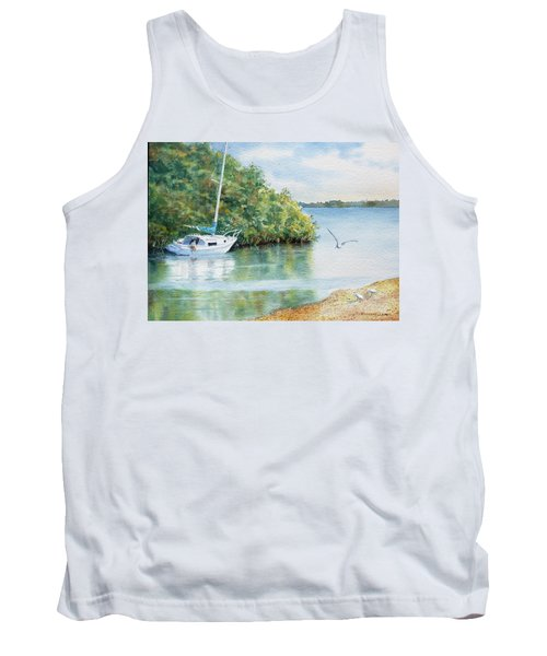 Tank Top featuring the painting Tide's Out by Roger Rockefeller