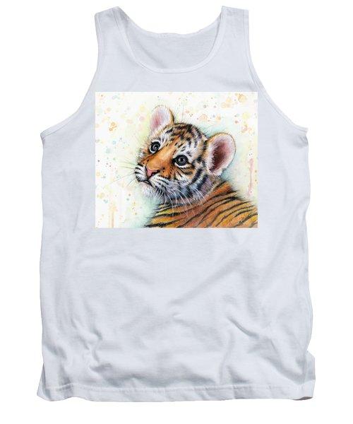 Tiger Cub Watercolor Art Tank Top