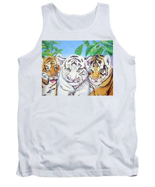 Tank Top featuring the painting Tiger Cubs by Thomas J Herring