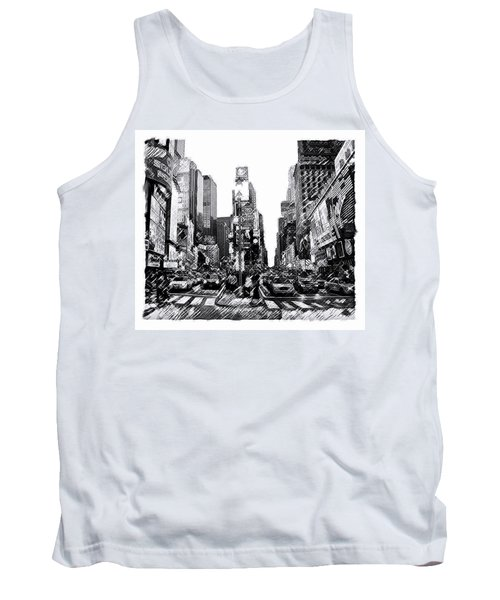 Tank Top featuring the painting Times Square   New York City by Iconic Images Art Gallery David Pucciarelli