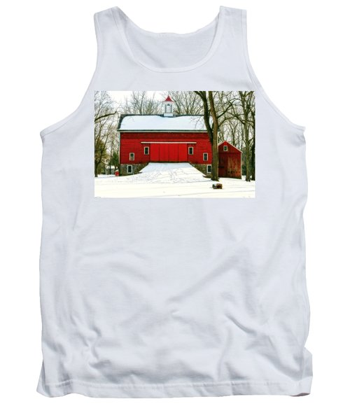 Tank Top featuring the photograph Tinicum Barn In Winter II by Debra Fedchin