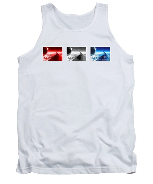 Tank Top featuring the photograph Red White Black An White Blue An White Jet Pop Art Planes. by R Muirhead Art