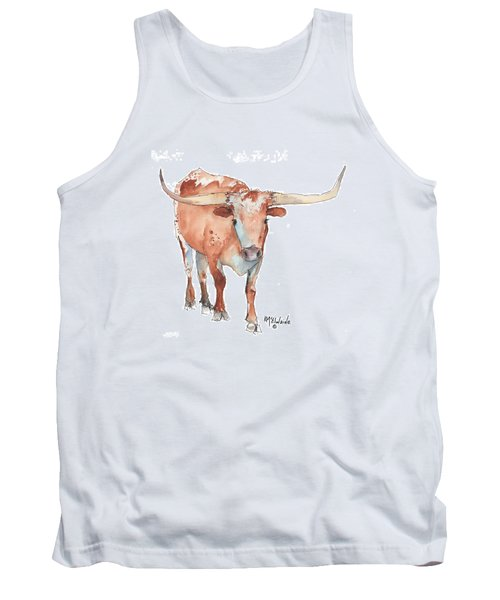 Square Walking Tall Texas Longhorn Watercolor Painting By Kmcelwaine Tank Top by Kathleen McElwaine