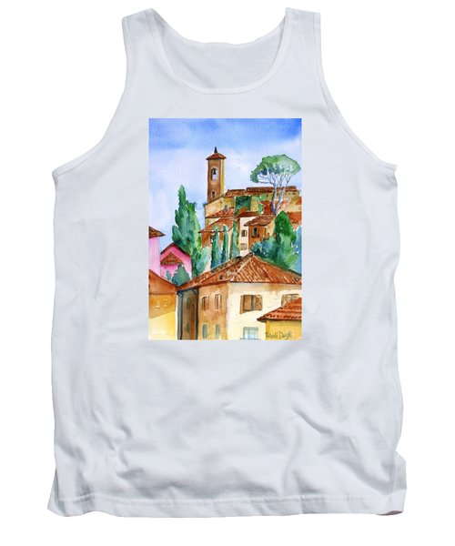 Tank Top featuring the painting Tuscan Rooftops  -montecatini Alto by Trudi Doyle