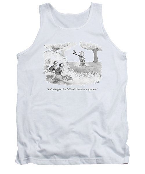 Two Birds Look At Another Bird That Is Perched Tank Top