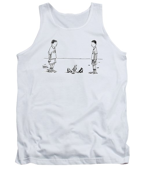Two Boys On A Soccer Team Look Down At The Ground Tank Top