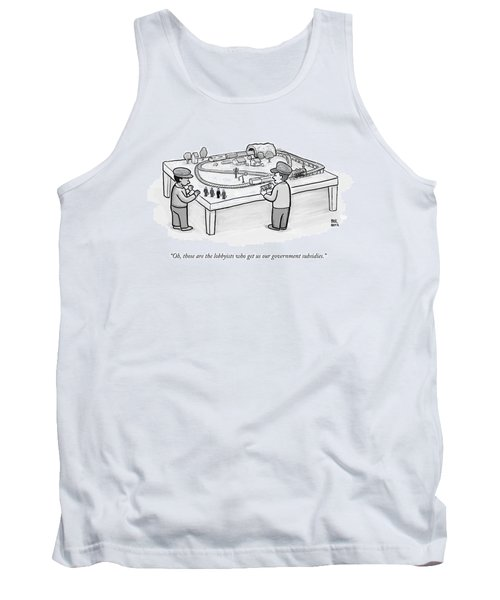 Two Children Play With A Toy Train Set Tank Top