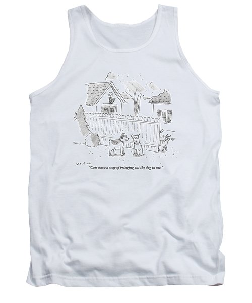 Two Dogs Are Speaking With A Cat Walking Near By Tank Top