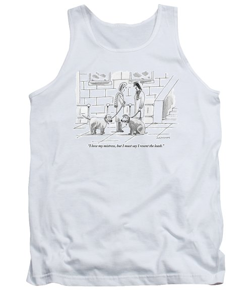 Two Dogs On Leashes Are Talking Next Tank Top