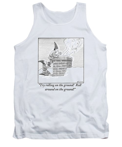 Two Elves On A Snow-covered Roof Yell Tank Top