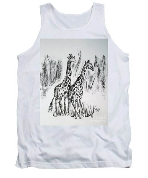 Tank Top featuring the drawing Two Giraffe's In Graphite by Janice Rae Pariza