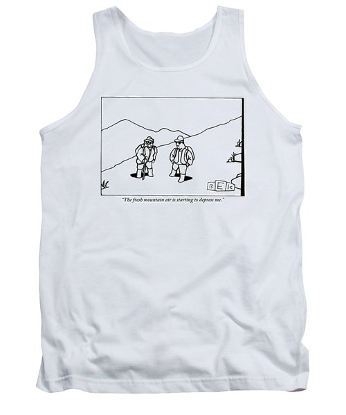 Two Hikers Are Talking To Each Other Outdoors Tank Top