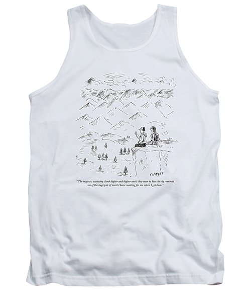 Two Hikers In A Mountainous Area Are Resting. One Tank Top