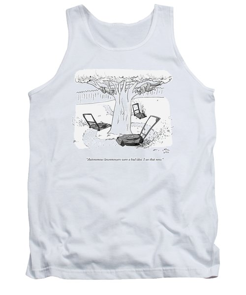Two Individuals Cling To Tree Branches As Three Tank Top