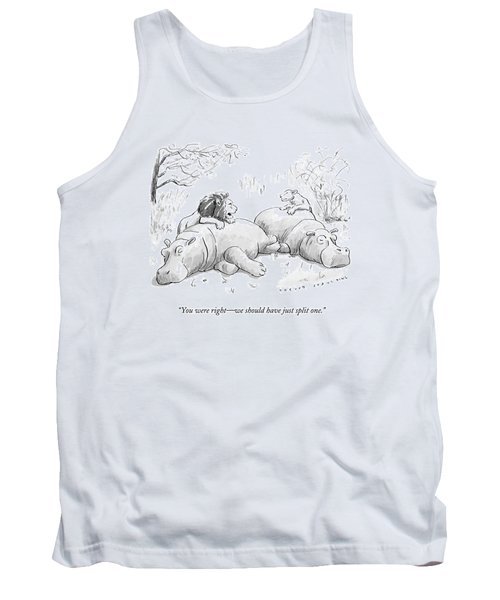 Two Lions Prepare To Dine On Two Hippopotami Tank Top