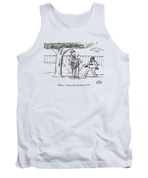 Two Men Are Seen In A Backyard Tank Top