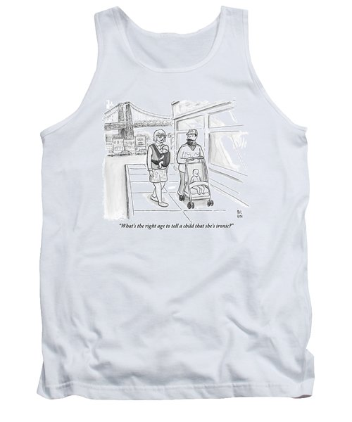 Two Men Are Wearing Ironic Clothes And Walking Tank Top