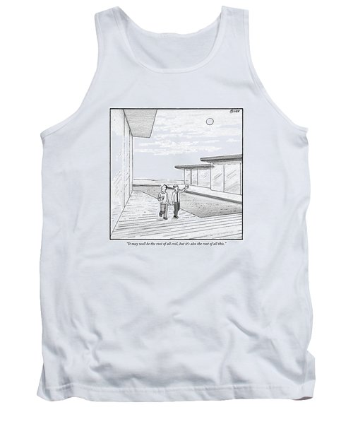 Two Men Touring The Outside Of A Big House Tank Top