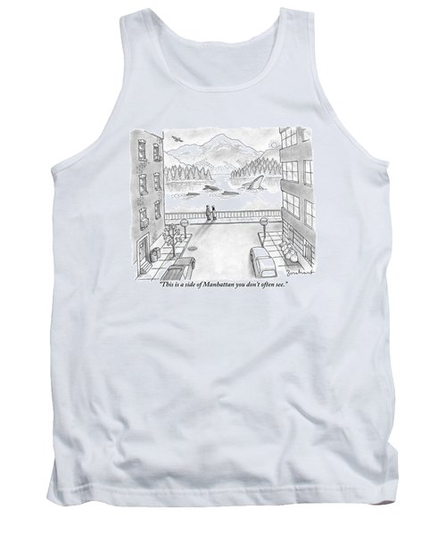 Two People In Manhattan Gaze Out At A Spectacular Tank Top