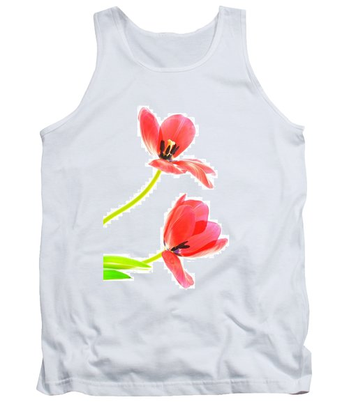 Two Red Transparent Flowers Tank Top