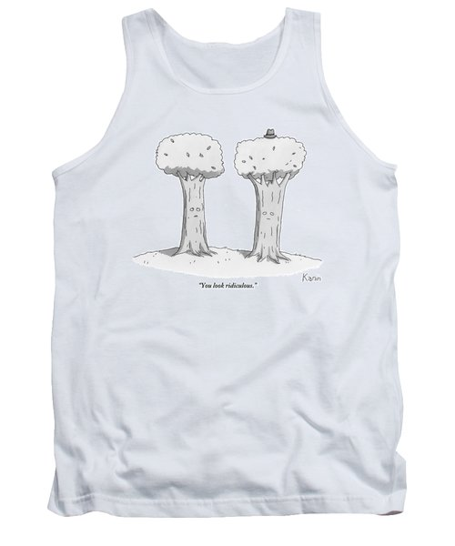 Two Trees With Faces Are Seen Next To Each Other Tank Top