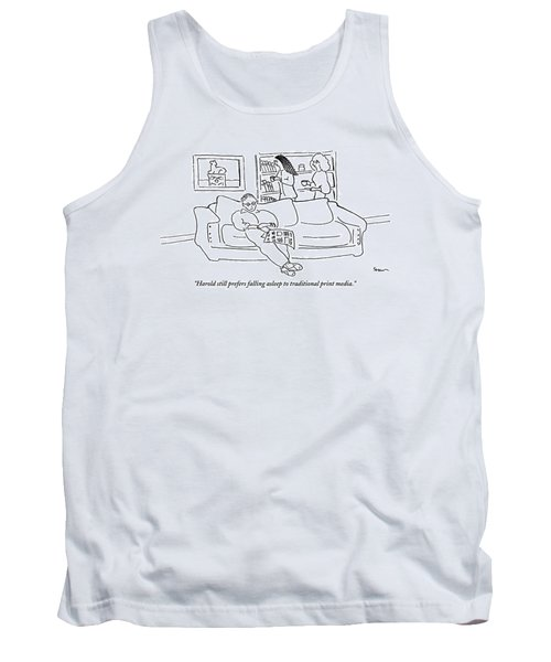 Two Women In A Living Room Walk Behind A Man Tank Top