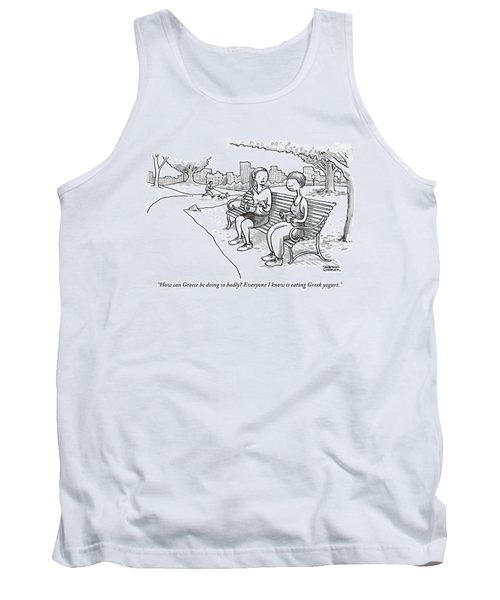 Two Women In Exercise Clothes Sit On A Park Bench Tank Top