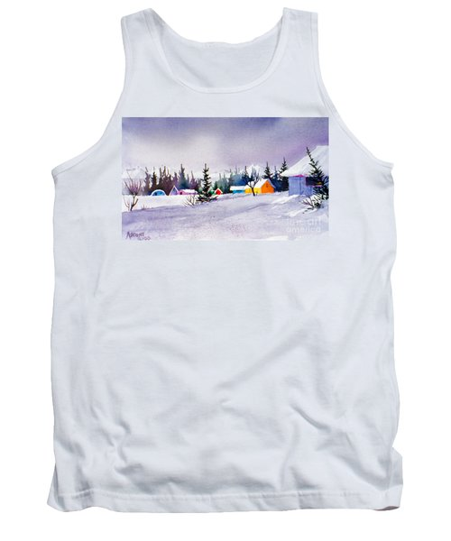 Tank Top featuring the painting Tyonek Village Impression by Teresa Ascone