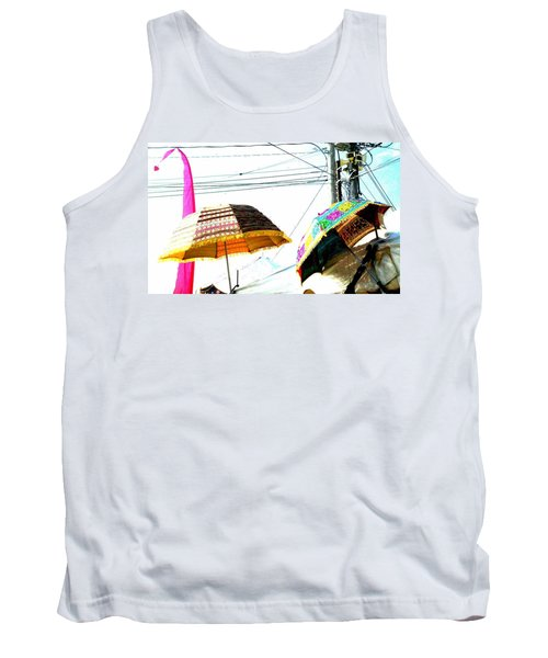 Tank Top featuring the photograph Umbrellas And Wires by Marianne Dow